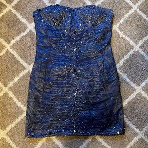 Blue Mini Homecoming Dress